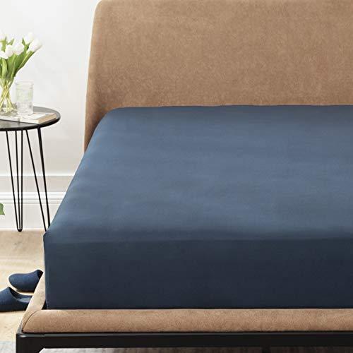 Bedsure Sabanas Bajeras 90x190 Ajustables - Bajera Cama 90 Barata Cómoda, Sabanas 90x190/200 Colchon 30 cm de Microfibra Cepillada Suave, Azul Marino