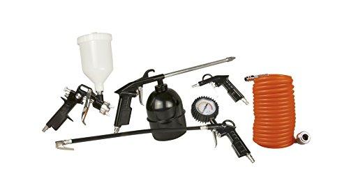 FERM ATM1036 Pneumatische Gereedschapsset - 5-delig - Met Verfspuitpistool inclusief beker, Spuitpistool, Groefvuller met Manometer, Blaaspistool, 5m-Spiraalslang met DIN-aansluiting