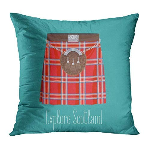 Yuanmeiju Throw Pillow Cover Scotch Scottish Traditional Skirt Kilt with Pattern of Traveling to Scotland Boy British Decorative Pillow Case Home Decor Square Pillowcase 20 X 20 inches