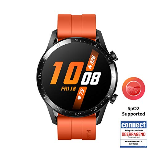 HUAWEI Watch GT 2 Smartwatch (46mm Full-Color-AMOLED, SpO2-Monitoring, Herzfrequenzmessung, Musik Wiedergabe&Bluetooth Telefonie, 5ATM wasserdicht, GPS) Sunset Orange [Exklusiv+5 EUR Amazon Gutschein]