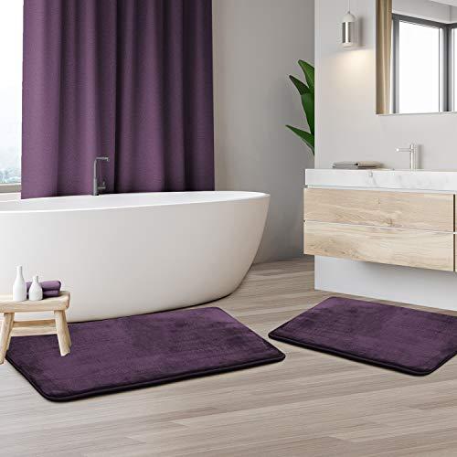 Clara Clark 2-Pack Bath Mat Set – Large and Small Bathroom Rug Set, Absorbent Memory Foam Bath...