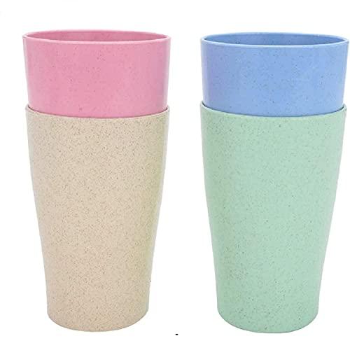 MorNon Tasse Unzerbrechlich Wiederverwendbare Trinkbecher Weizenstroh Wiederverwendbare Becher Unzerbrechliche Trinkbecher SetLeichte und Fallfeste Tasse für Wasser Kaffee ilch Saft