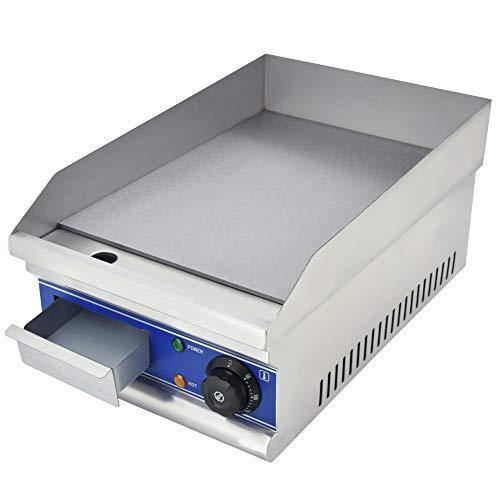 TAIMIKO Plancha eléctrica Comercial Parrilla Plana Placa de Parrilla de Cocina Encimera Control termostático de Acero Inoxidable 1500W 12