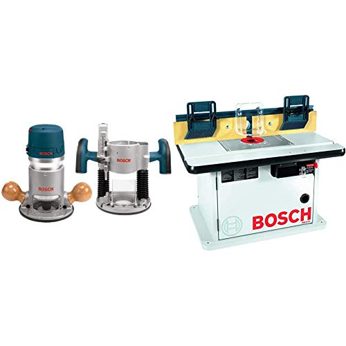 Bosch 1617EVSPK Wood Router Tool Combo Kit - 2.25 Horsepower Plunge Router & Fixed Base Router Kit with a Variable Speed 12 Amp Motor & Cabinet Style Router Table RA1171