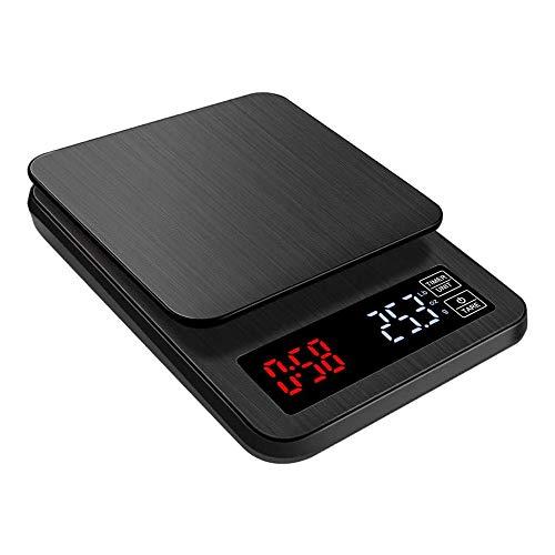 QUMOX Balance à Café, 5kg / 0,1g Balance à Café Numérique avec la Minuterie, Balance de Cuisine Balance avec Affichage LCD, Échelle de Nourriture Haute Précision, Noir