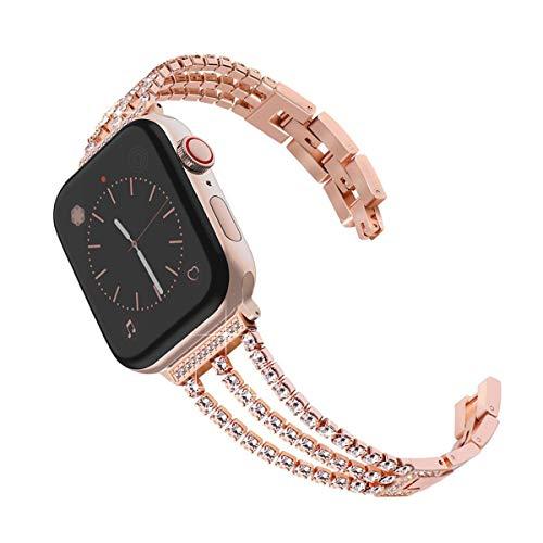 LIUZH Banda de Bling Compatible para Apple Watch Band 38mm 40mm Mujeres Rhinestone Banda de Enlace de Acero Inoxidable Iwatch Series 6/5/4/3/2/1 / SE Correa de Metal de Pulsera de Oro Rosa.