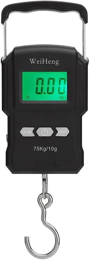 75 kg / 10 g báscula electrónica retroiluminación báscula digital portátil pesca postal gancho balanza con cinta métrica
