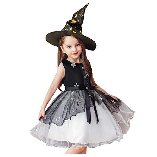 Romantic Kinder Baby Mädchen Halloween Kostüme Kurzarm Cosplay Kleid Prinzessin Kostüm Kleider mit Bowknot und Sternen, Hexe Hut 2er Set Fancy Dress Verkleiden Kostüme für Halloween (Schwarz 2, 130)