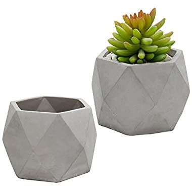 MyGift 4-Inch Gray Geometric Clay Planter Pots, Set of 2