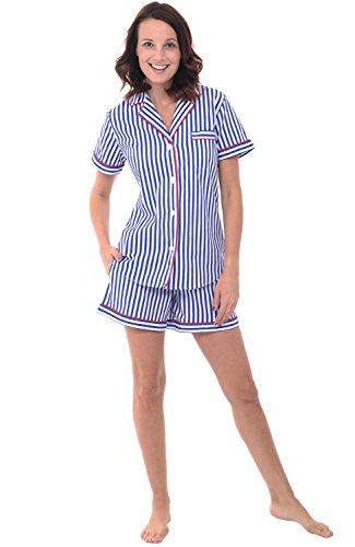 Alexander Del Rossa Women's Lightweight Button Down Pajama Set, Short Summer Pjs, Large Blue and White Striped (A0550V10LG)