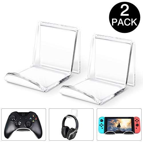 DLseego Universele Controller Stand Houder Wall Mount, [2 Pack] Wandsteun Stand Houder voor Game Controller/Koptelefoon - Controller Stand Wall Holder Mount voor Xbox One PS4 Switch Pro - Clear