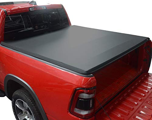 KSCPRO Quad Fold Tonneau Cover Soft Four Fold Truck Bed Covers Fits 2002-2021 Dodge Ram 1500 ; 2003-2021 Dodge Ram 2500 3500 6.4 Feet Bed, Fleetside Without RamBox