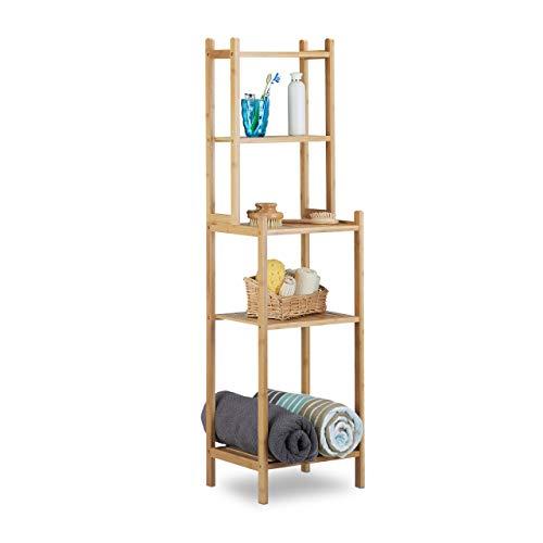 Relaxdays Badregal Bambus, 5 Ablagefächer für Küche, Flur, Badezimmer, offenes Standregal HxBxT: 121 x 33 x 28 cm, natur