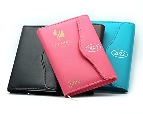 Personalised Custom Diary Organiser 2022 | Design A Truly Unique Gift | Laser Engraved PU Leather – A5 Pink