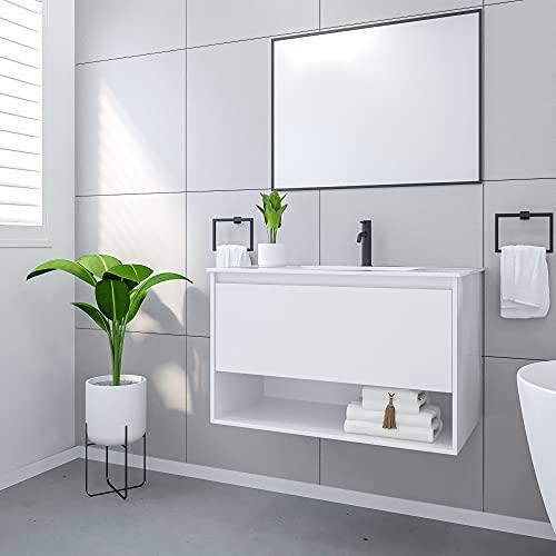 Mobile Bagno Sospeso con Lavabo e Specchio Salvaspazio in Legno MDF e Ceramica Elegante (Bianco)