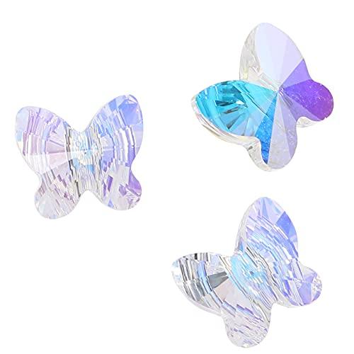 VORCOOL 3 Piezas de Cuentas Sueltas de Mariposa de Vidrio Cuentas de Purpurina Cuentas de Cristal AB Cuentas Facetadas de Briolette Collar para Hacer Joyas Cuentas Artesanales para