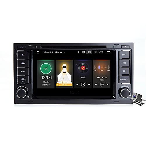 Gokiu Android 11 Autoradio Compatible para Volkswagen Touareg 2004-2011 - con Cámara Micrófono - Carplay Android Auto - 2 DIN 7″ - Soporte Dab FM Am RDS DSP Bluetooth Volante,188l: 2+16gb