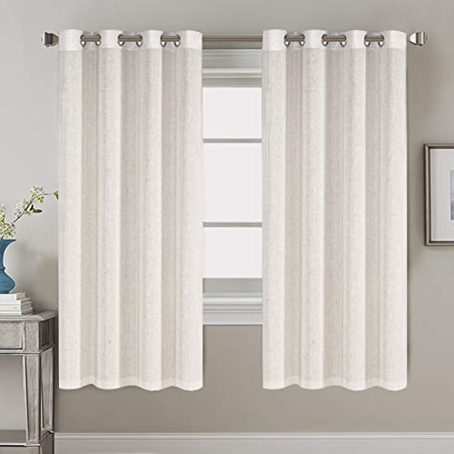 Decorative Linen Kitchen Curtains - Linen Curtains 63 inches Long Bedroom Window Treatments for Living Room / Rich Linen Curtain Panels and Drapes, Classic Nickel Grommet, Natural, 2 Panels