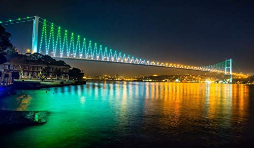 OKOUNOKO Rompecabezas para Adultos 1000 Piezas Puente del Bósforo De Estambul Montaje De Madera Decoración para El Juego De Juguetes para El Hogar Juguete Educativo para Niños Y Adultos