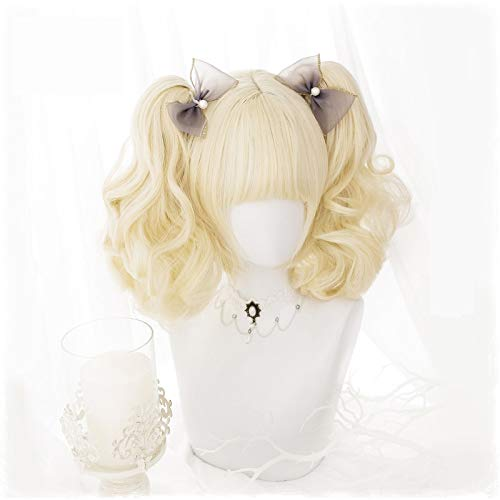 LJYNB Encantadoras pelucas de Cosplay de Lolita, pelo sinttico de fibra de alta temperatura, pelo corto amarillo con coletas rizadas + gorro de pelo gratis