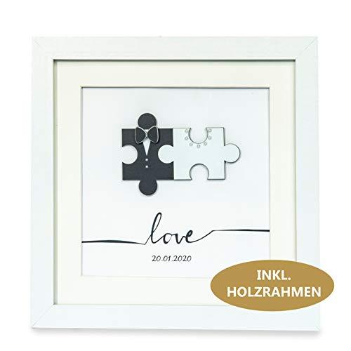 Hochzeitsgeschenke für Brautpaar personalisiert, Geschenk aus ECHTEN Puzzleteilen, Gastgeschenk originell Hochzeit persönlich INKL. 22x22 cm Holzrahmen + Geldgeschenk Umschlag