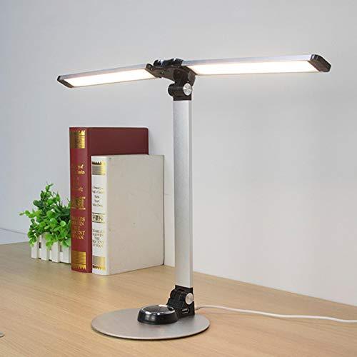 Lámpara de escritorio de 10 W led de moda lámpara de escritorio con doble lámpara 56 bulbo continuo atenuación ojo proteger control táctil plegable estilo lámpara de mesa Stepless