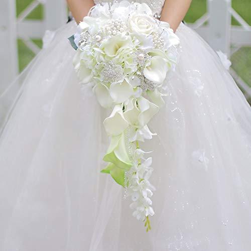 Xintian Künstliche Blumen Wasserfall-rote Blumen-Brautsträuße Kunstperlen Kristall Hochzeit Bouquets Bouquet Rose gefälschte Blume (Color : White Calla Lily)