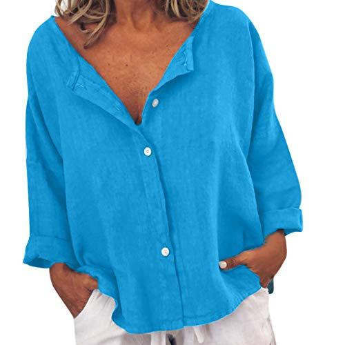 SHINEHUA linnen blouse dames hemdblouse casual V-hals knopen tops los dagelijks blouse shirt tops vrije tijd lange mouwen t-shirt top elegant shirt met lange mouwen Medium blauw