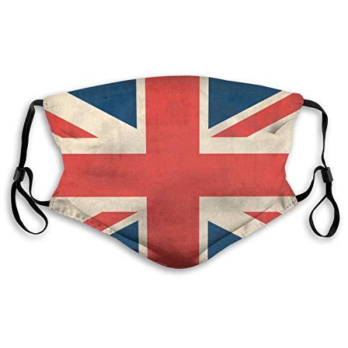 Unisex Gesichtsabdeckung, verstellbar, Anti-Staub-Mundschutz, waschbar, wiederverwendbar, für Radfahren, Camping, Reisen, Vintage Union Jack British Flag #2