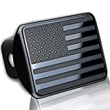 """USA American Metal Tow Hitch Cover – Zento Deals Stainless Steel Emblem Thick Durable Novelty American Flag Trailer Hitch Cover Black Fits 2"""" Receivers"""