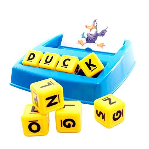 niños Rompecabezas Juego de Mesa Imagen Fuente de alfabetización Protección del Medio Ambiente Juguetes educativos prácticos (Azul + Amarillo)