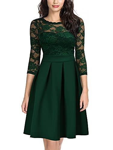 Miusol Women's Vintage Floral Lace 2/3 Sleeve Cocktail Party Swing Dress, Dark Green, Medium