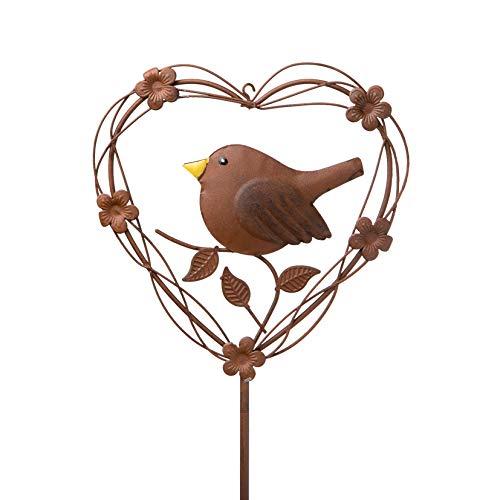 Metall Stecker. Herz mit Vogel. Rost Gartenstecker, Blumenstecker. 100 cm. Art.: 73862