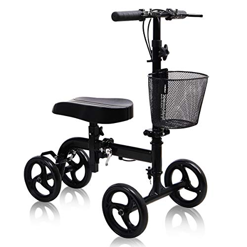 Knee Scooter All Terrain - Give Me Deluxe Medical Steerable Foldable Knee Walker for Broken Leg, Foot, Ankle Injuries Come with Orthopedic Seat Pad - Compact Crutches Alternative in Black