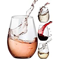 4-Count Amallino Stemless Wine Glasses, 20oz Set