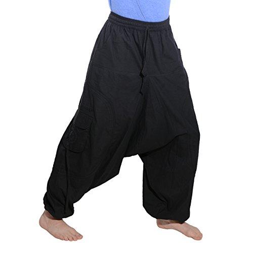 KUNST UND MAGIE Trendige Haremshose Bunte Muster Goa Hippie Hose, Größe:L/XL, Farbe:Black/Schwarz