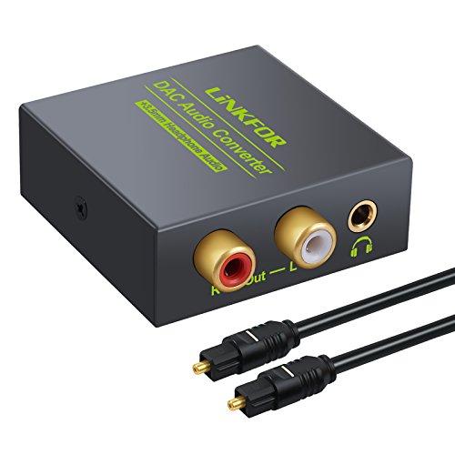 LiNKFOR DAC Audio Convertitore Digitale ad Analogico Coassiale Ottico a RCA L/R Adattatore con Cavo Ottico 3.5mm Presa Elettrica Uscita per HDTV Blu Ray DVD Sky HD XBox 360 Scatola Televisiva