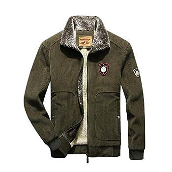 QIBOOG Men Winter Warm Jacket Faux Fur Lined Coat Windbreaker Fleece Liner Breathable Sport Outdoor Coat Assault Coat Green,M