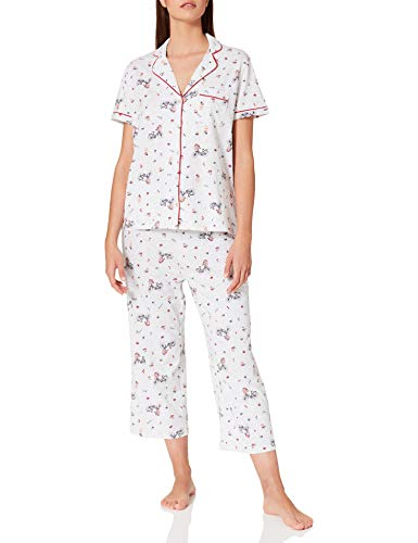 Women' Secret Pijama Corto Camisero algodón Capri, Estampado Gris, XS para Mujer