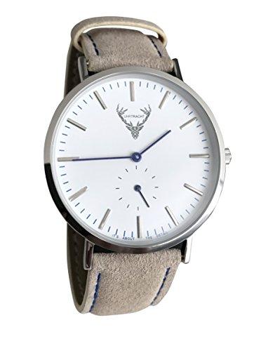 UHRTRACHT - Uhr in Silber mit Wildleder, 40 mm Trachtenuhr mit Quick Release - (Hellbraun). Unisex, Damen, Herren