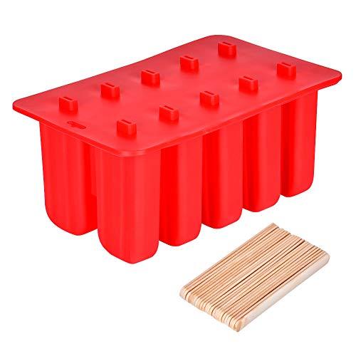 Queta Eisform 10 Eisformen aus Silikon, EIS am Stiel Formen mit 50 Holzstielen, DIY Form für EIS/Joghurt und Frucht, BPA frei, Spülmaschinenfest (10 Eisformen)