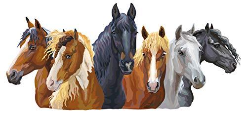 dekodino® Wandtattoo Kinderzimmer Pferde Set im gemalten Look Pferdekopf Deko