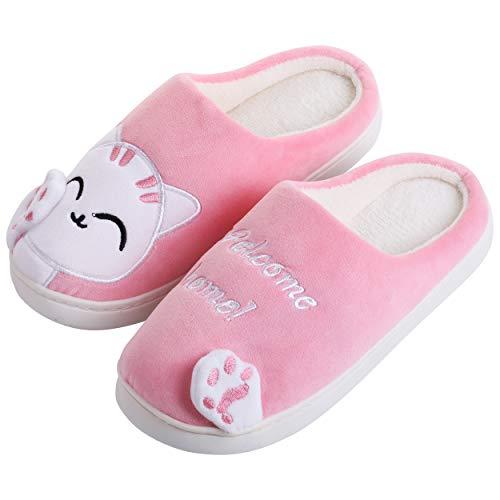 Katara Katzen Plüsch-Hausschuhe *große Auswahl* Tier-Schlappen für Jungen und Mädchen, EU Größe 34/35, Etikett CN 36/37, Weiß Pink