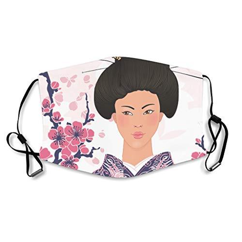 Caixiabeauty Japanse Geisha kersenbloesem mondbescherming met oorlussen herbruikbaar wasbaar stofbescherming voor outdoor