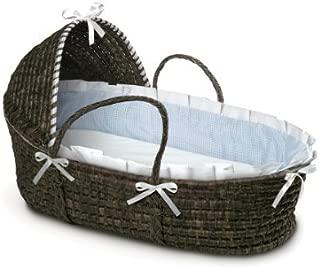 Badger Basket Moses Basket Gingham with Hood and Bedding, Espresso/Blue by Badger Basket