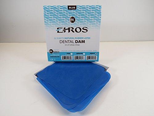 Rubber Dental Dam 5'x 5' Heavy Blue Latex 52 Sheets Dique De Goma Natural EHROS