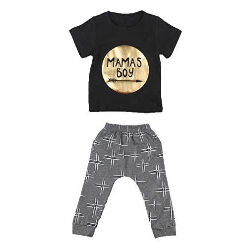 Borlai 2 stuks/set pasgeborenen jongens mode kleding set zomer zwart T-shirt + broek set