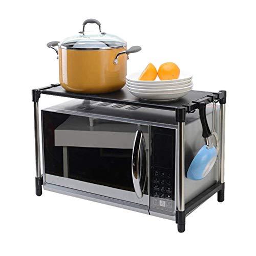 JF-XUAN Fiore stand Cucina storage rack-multifunzione in acciaio inox Forno a microonde scaffale 2 livelli con 6 ganci Nero Forno staffa di mensola da terra (Dimensioni: L55cm X W30.5cm X H37cm) Shelf