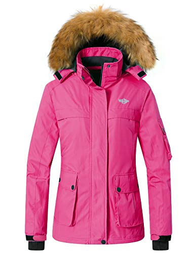 Womens Red Rose Insulated Windproof Ski Snow Jacket with Detachable Hood