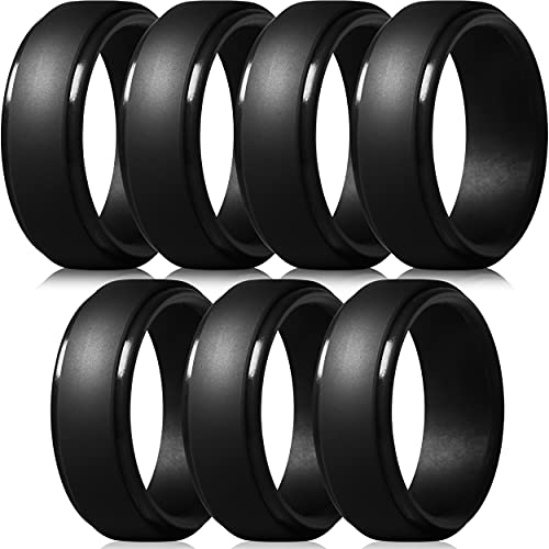 ThunderFit Silicone Rings for Men - 7 Pack Rubber Wedding Bands (7 Black...